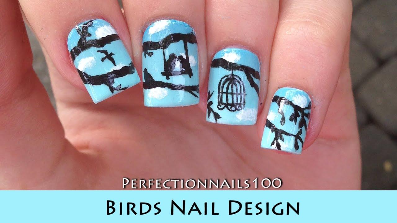 Nail Design Bird Art Freehand Tutorial