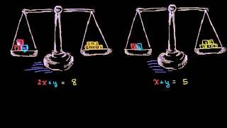 Решение систем уравнений на примере с весами | Системы уравнений | Алгебра I (8 видео)