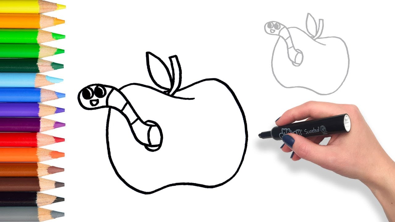 Learn how to draw apple and worm teach drawing for kids and Large Apple with Worm Coloring Page Coloring Book Pages Reading Worm Coloring Page