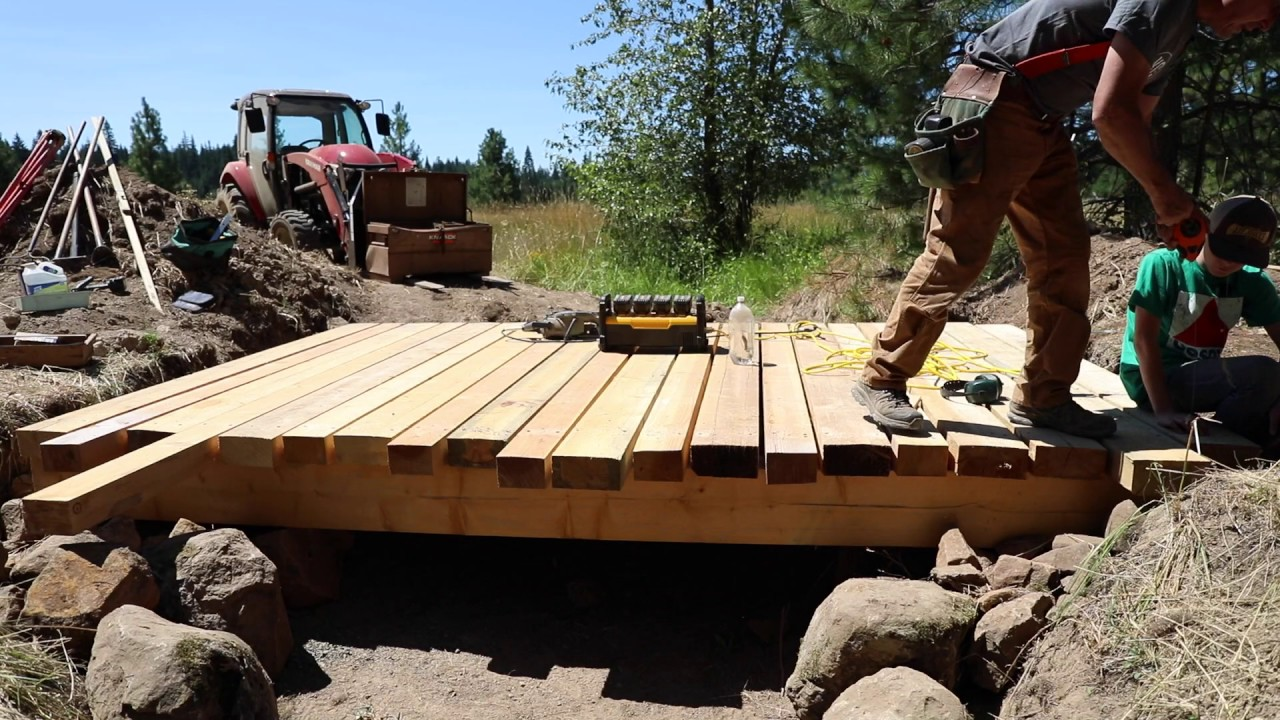 how to build a bridge over a creek for a tractor 7 youtube. Black Bedroom Furniture Sets. Home Design Ideas