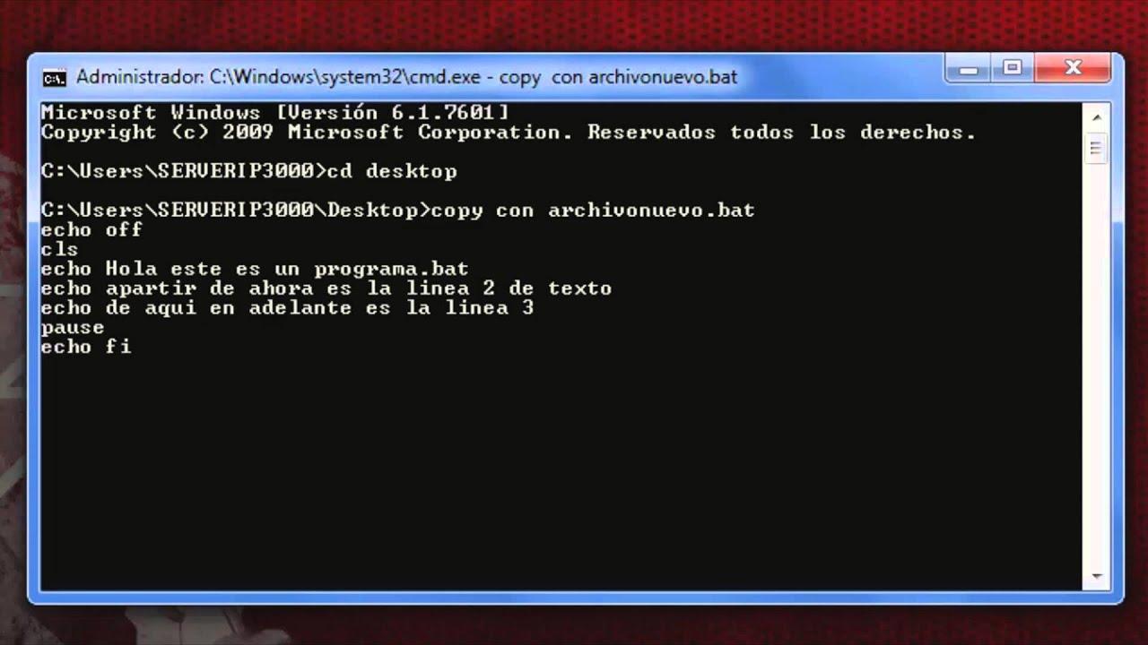 Como crear una archivo de texto bat desde cmd youtube - Como panelar una pared ...