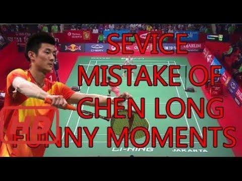 Love Badminton   BADMINTON SERVICE MISTAKE OF CHEN LONG - FUNNY MOMENTS