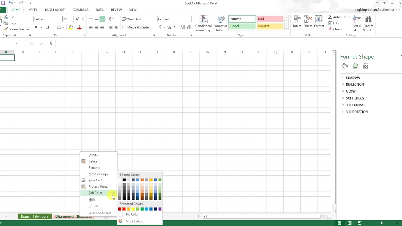How to change name & colour of Excel worksheet   YouTube