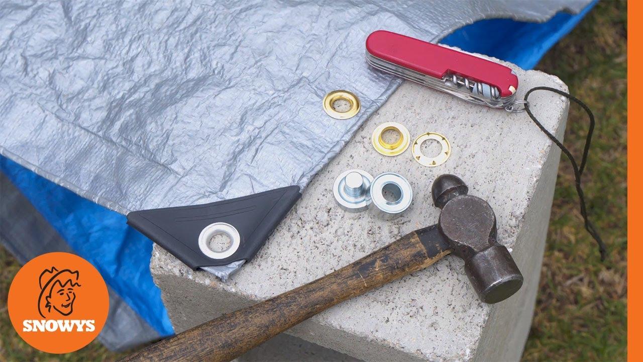 Tarpaulin Repair Kit Set Awning Tarp Tent Punch Set Tool Ground Sheet Eyelets