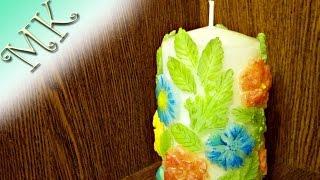 Свеча своими руками/Цветочная свеча/Декор свечи/Мастер класс/DIY/Anisa - Творческие МАСТЕР КЛАССЫ