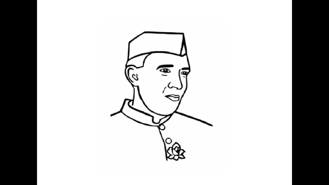 How to draw easy jawahar lal nehru face drawing step by step