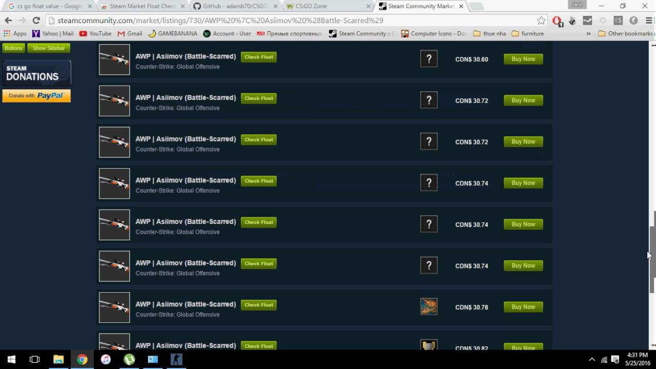 Find float value of any CS GO skin in Steam Market