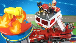 Paw Patrol Ultimate Rescue Save Their Lookout on Fire with Ultimate Fire Truck