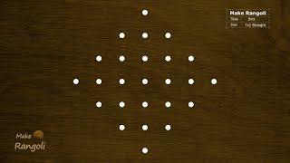 Padi kolam with 7x1 dots | Margazhi Kolam | Dhanurmasam Muggulu | Make Rangoli