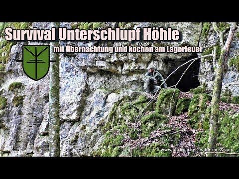 Survival Unterschlupf Höhle / Survival & Bushcraft Abenteur mit kochen am Lagerfeuer