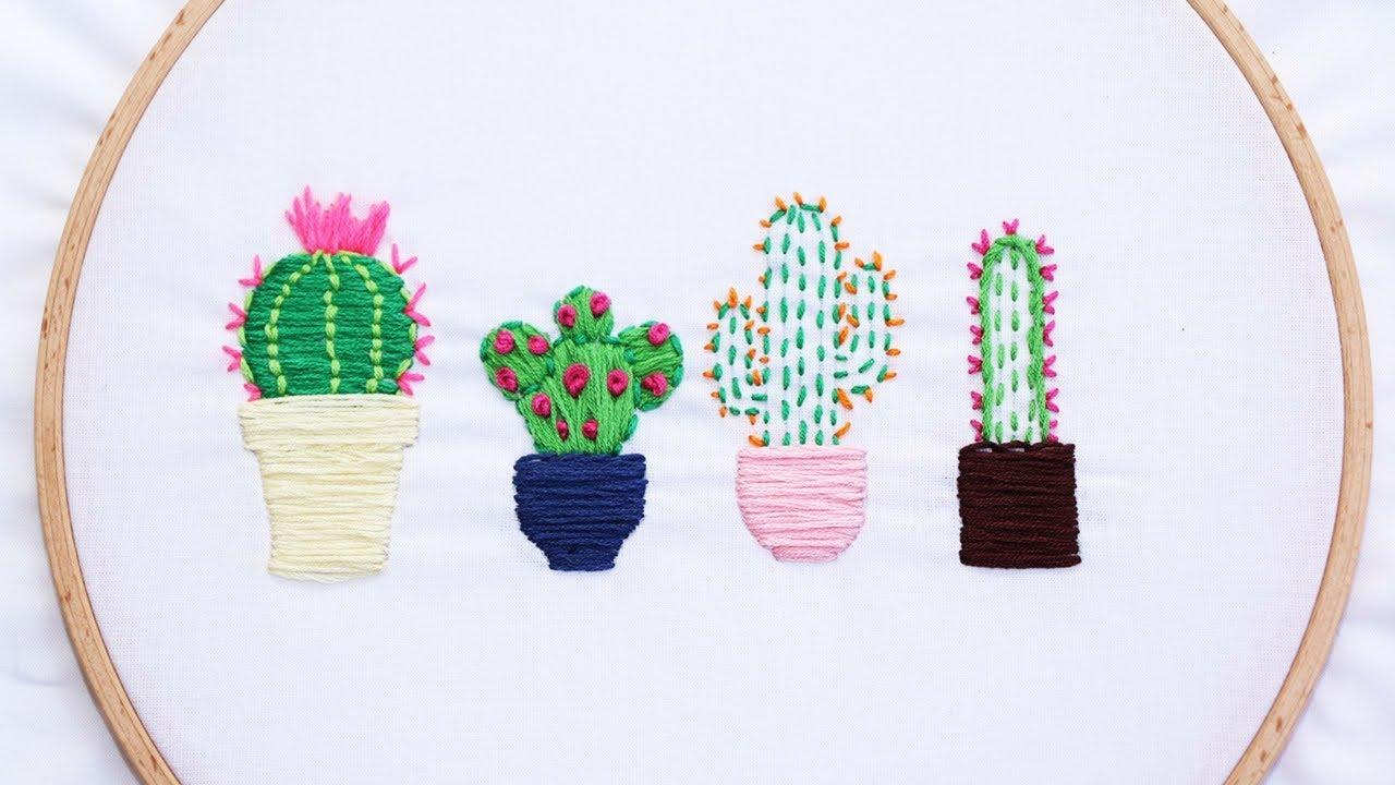 Como Bordar Cactus Bordado Paso A Paso Patrones Gratis Youtube
