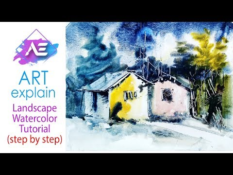 Simple house watercolor landscape painting  | How to paint a watercolor landscape | Art Explain