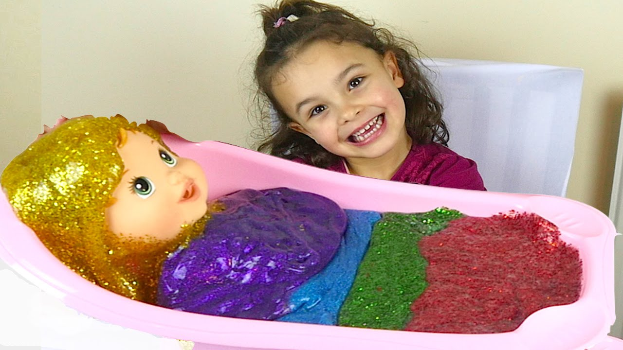 Glitter Slime Baby Bath And Rainbow Putty Ice Cream For