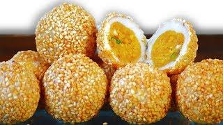 पहले कभी नही खाई होगी तिल की ऐसी अदभुद मिठाई | Sesame balls Banh Cam Recipe in Hindi