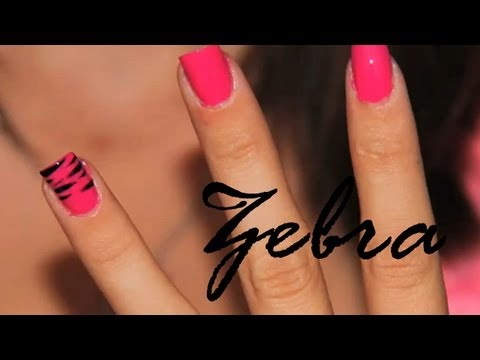 [Full-Download] Tutorial Zebra Nail Art With Hot Pink Tips