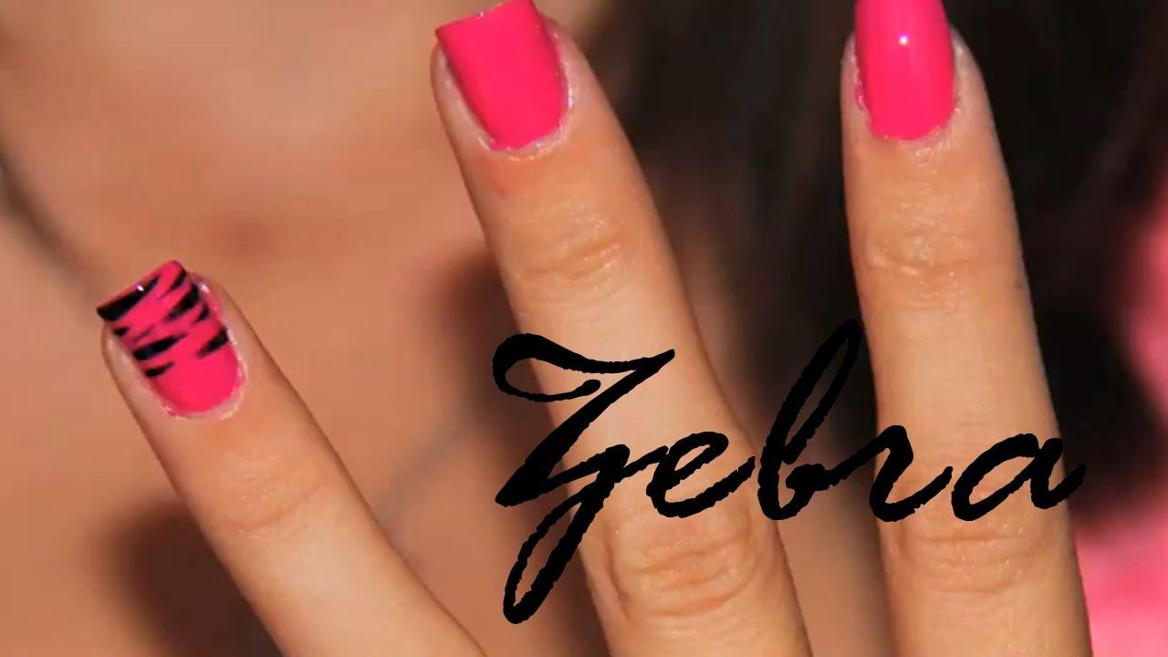Hot Pink Zebra Print Nail Polish Art Tutorial Youtube