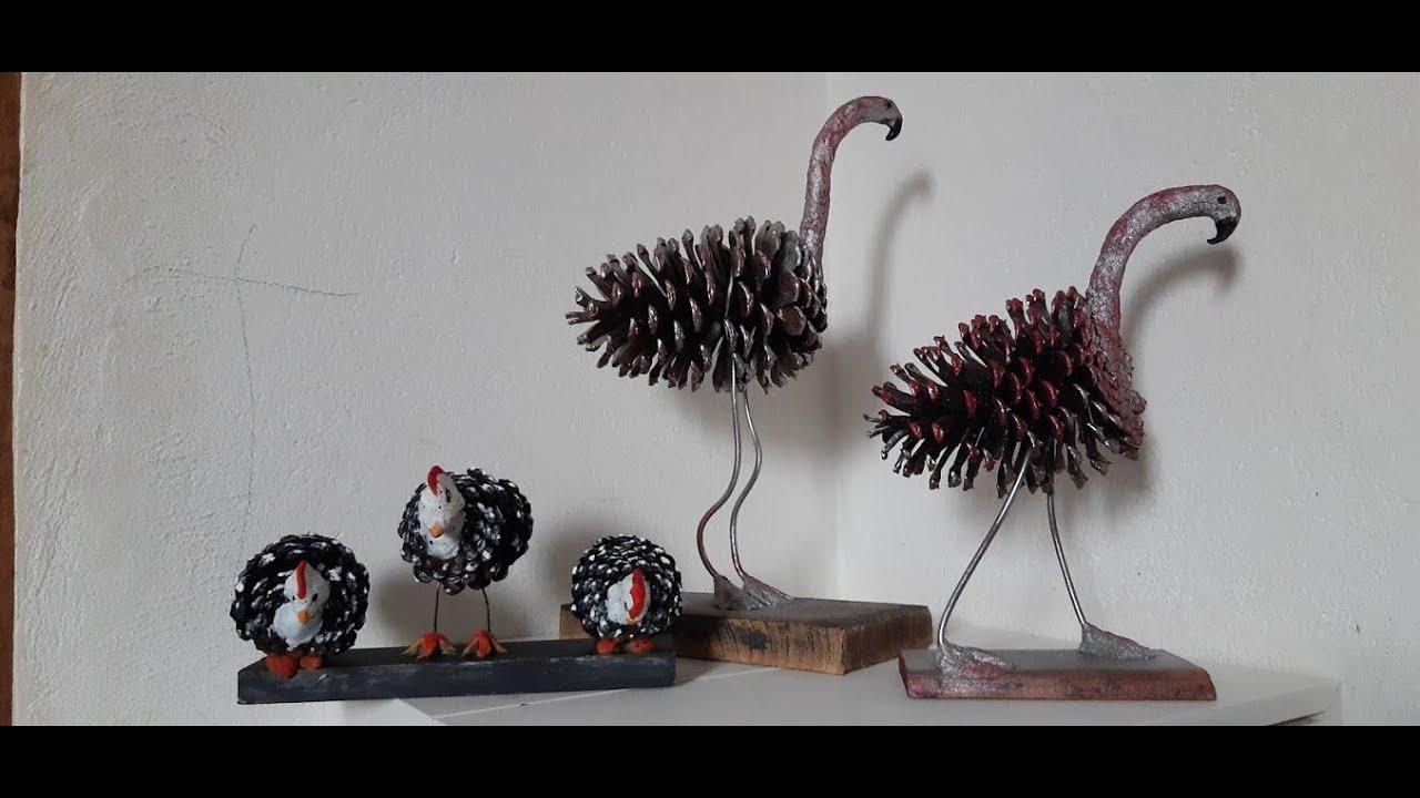 Como Fazer Avestruz, Flamingos de Pinha. Artes com Pinhas.Artesanato Faça e Venda.Decoração,Recicle