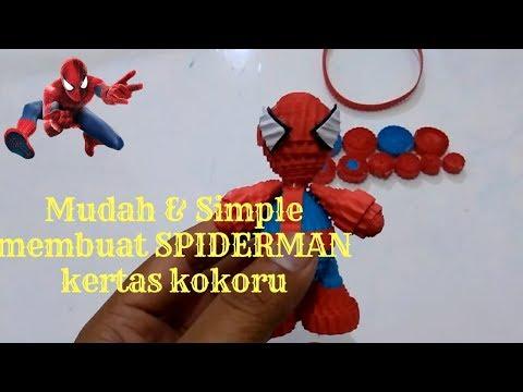 Easy KoKoru Art: How to Make a Spiderman kokoru Paper- Membuat spiderman dari kertas kokoru