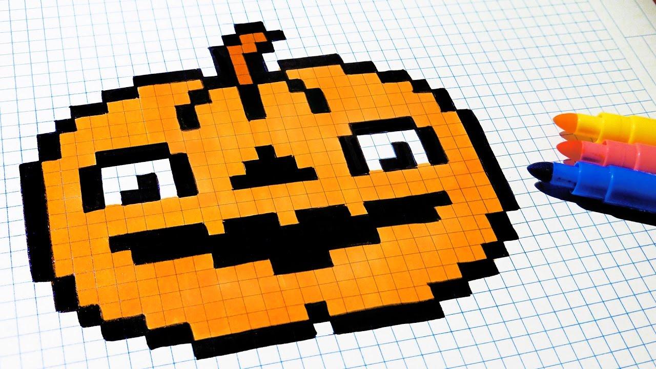Halloween Pixel Art - How To Draw a Pumpkinhead #pixelart - YouTube