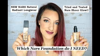 Nars Natural Radiant Longwear foundation vs Sheer Glow | Review and demo