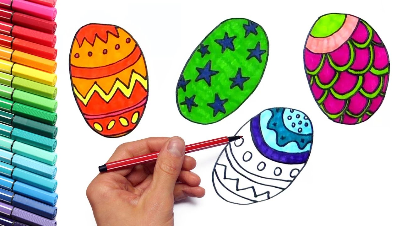 Drawing Easter Eggs For Learning Colors How To Draw And Color For Kids With Markers Youtube