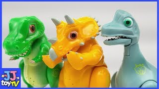 Who Is The Greedy Dinosaurs? Dinomecard Egg Tyrannosaurus Brachiosaurus For Kids [Jjtoy Tv]