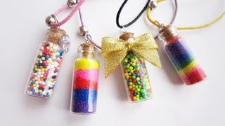 Mini Fashion DIY - How to make vial bottle candy or colored sand necklace sand  necklace - EP