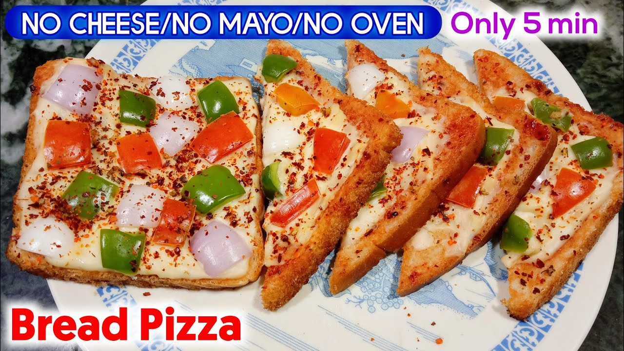 Bread Pizza Without Cheese   Bread Pizza recipe   No Cheese Pizza recipe   Tawa Bread Pizza in 5 min