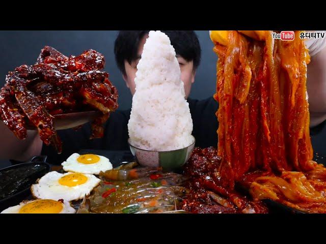 ASMR 밥적당히 조금 & 잘익은 묵은지 & 매콤한양념게장 & 오독오독간장새우장 밥도둑 어벤져스 먹방 KOREA POPULAR FOOD REAL SOUND MUKBANG