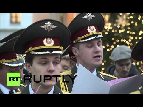 Germany: Red Army Choir sings Christmas songs at Brandenburg Gate
