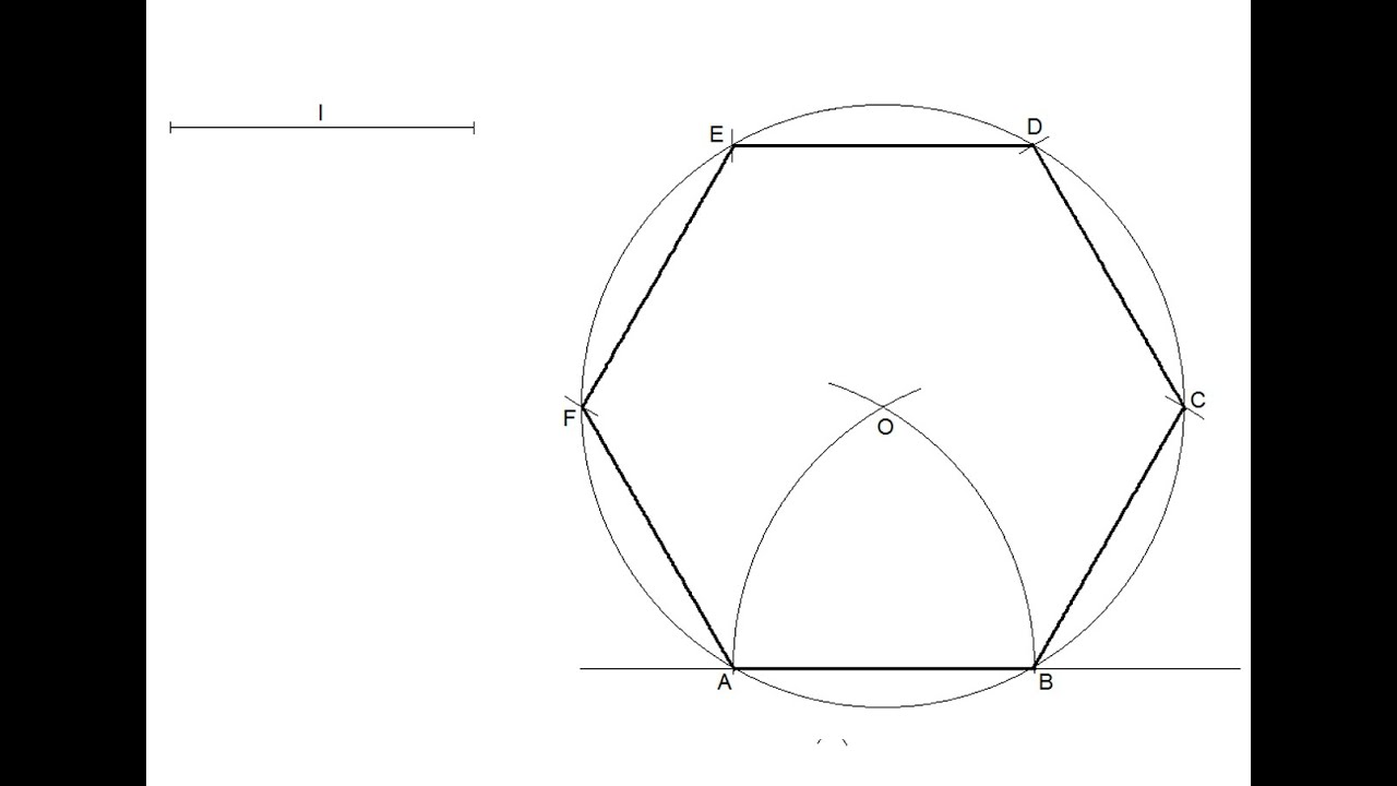 How to draw a regular hexagon knowing the length of one side - YouTube