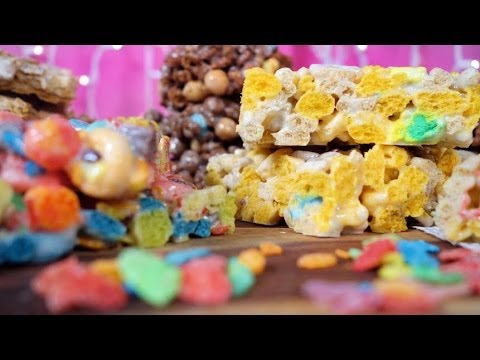 Marshmallow Cereal Bars w/ Lucky Charms, Coco Puffs and More! | Just Add Sugar