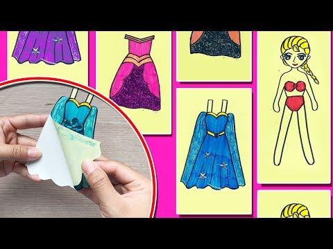 THỬ LÀM HÌNH DÁN CÔNG CHÚA BÚP BÊ ELSA THAY QUẦN ÁO - DIY Sticker dolly dressing (Chim Xinh)