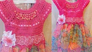 #платьекрючком# Детское вязаное  платье  крючком,юбка из шифона с подкладкой часть 1