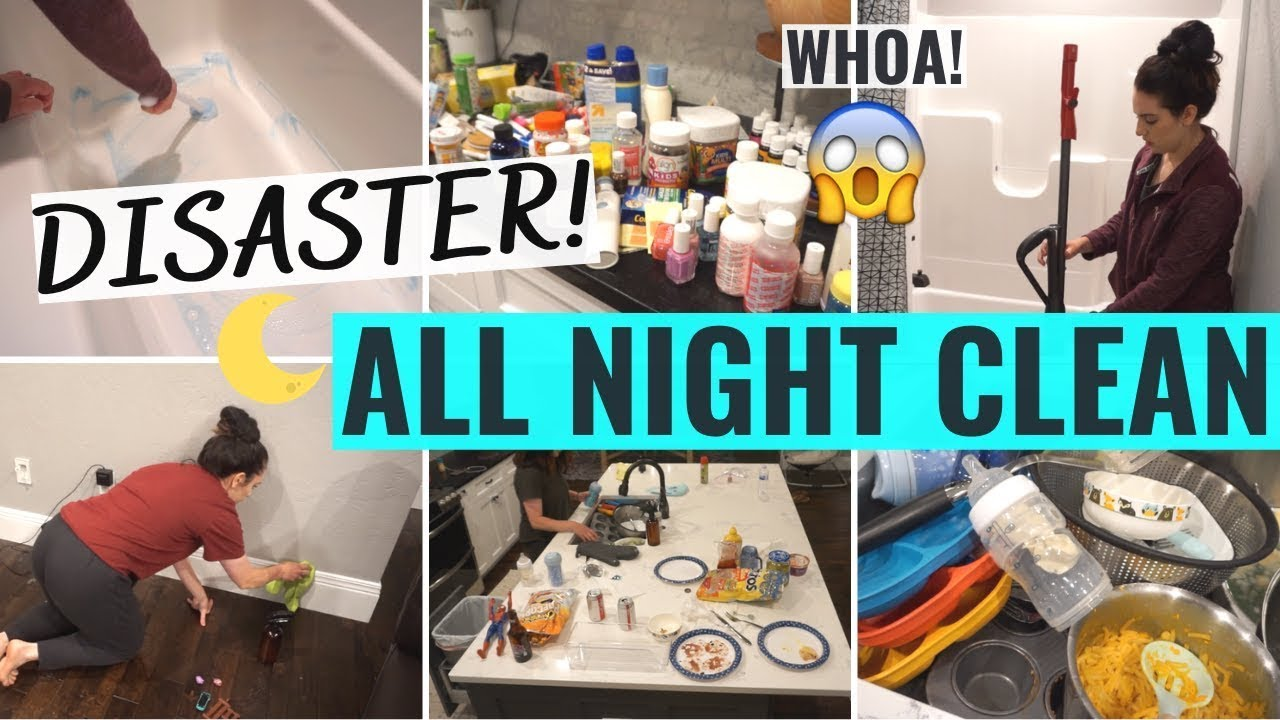 COMPLETE DISASTER ALL NIGHT CLEAN WITH ME! | EXTREME AFTER DARK CLEANING MOTIVATION | SAHM