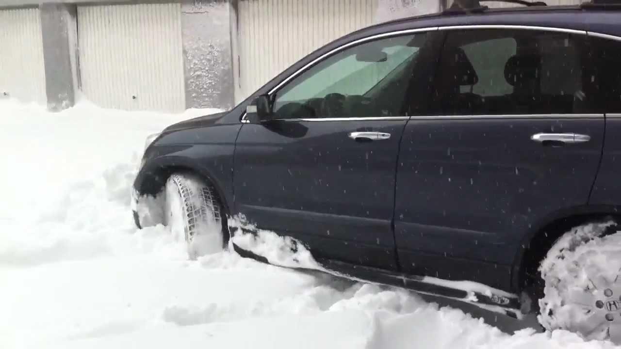 honda cr v in snow youtube