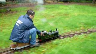 "5"" gauge model steam locomotive GWR 14xx on groundlevel track at Tilburg"