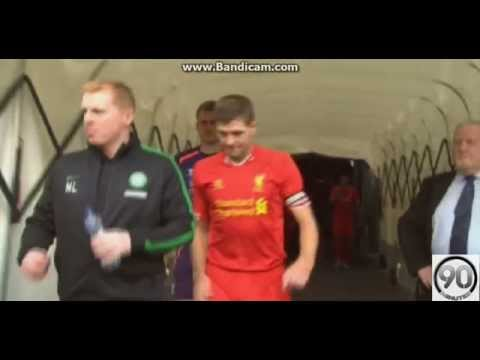 Steven Gerrard pushes Neil Lennon - Celtic-Liverpool