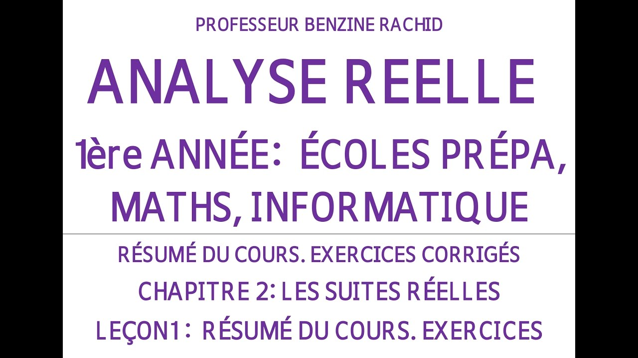 EXERCICES ANALYSE 1ERE ANNEE CHAPITRE2 LECON1 SUITES ...