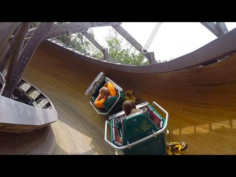 Flying Turns POV Worlds Only Wooden Bobsled Roller Coaster Knoebels Amusement Park