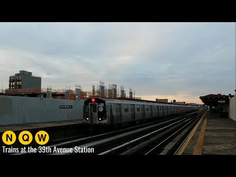 NYC Subway: (N) (Q) (W) Trains at the 39th Avenue - Beebe Avenue Station