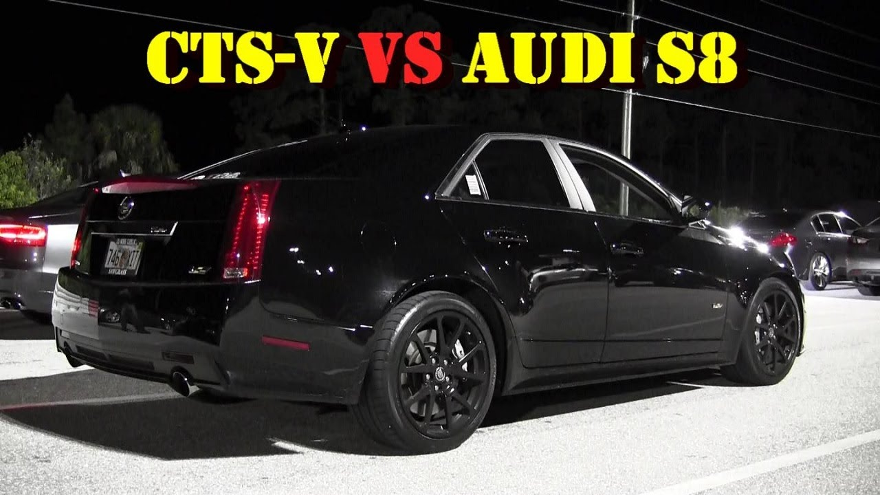 600 Hp Audi S8 Vs 556 Hp Cts V 1 4 Mile Drag Race Video 2 Races