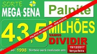 PALPITE MEGA SENA 1998 terça-feira - RETROATIVO