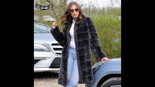 Зимняя мода 2020 длинное пальто из меха кролика рекс для женщин темно серый натуральный мех