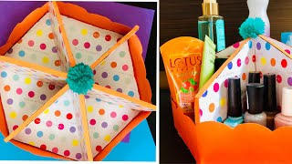 Cardboard Craft Idea - Making A Makeup Organiser Using Carton  Cardboard Waste Material