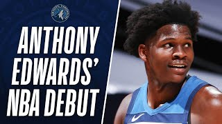 #1 overall pick anthony edwards made his nba debut tonight and finished with 15 pts, 4 reb & ast! #nbarookssubscribe to the nba: https://on.nba.com/2jx5gsn...