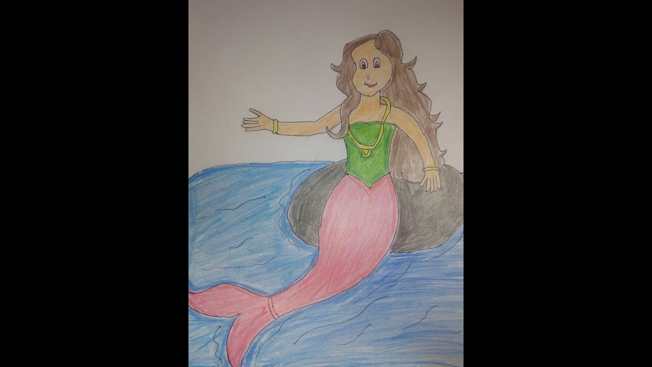 How To Make Drawing of Mermaid Easily for kids. Easy ...