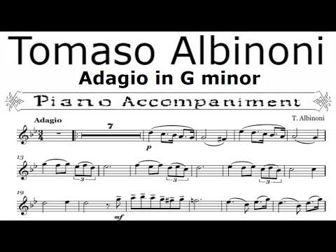 Tomaso Albinoni, Adagio in G Minor  for violin piano accompaniment