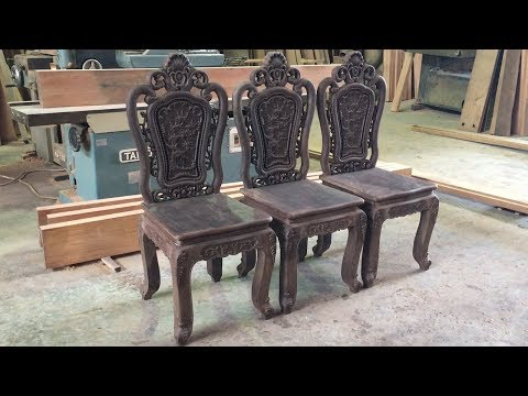 Amazing Woodworking Technique // How To Build And Finish Chair Wood Carving For Dining Table