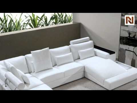 White Bonded Leather Sectional Sofa Set With Light Up Bed Diamond Lights Vg2t0692 Bl